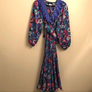 Vintage Diane Freís 1980's Blue Georgette Dress